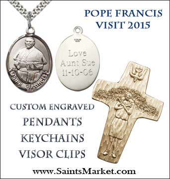 Shop Our Catholic Store for Pope Francis visit to the USA souvenirs, rosaries, medals, pendants, and more!